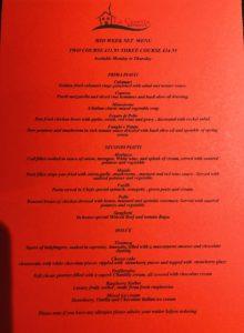 Mid week set menu